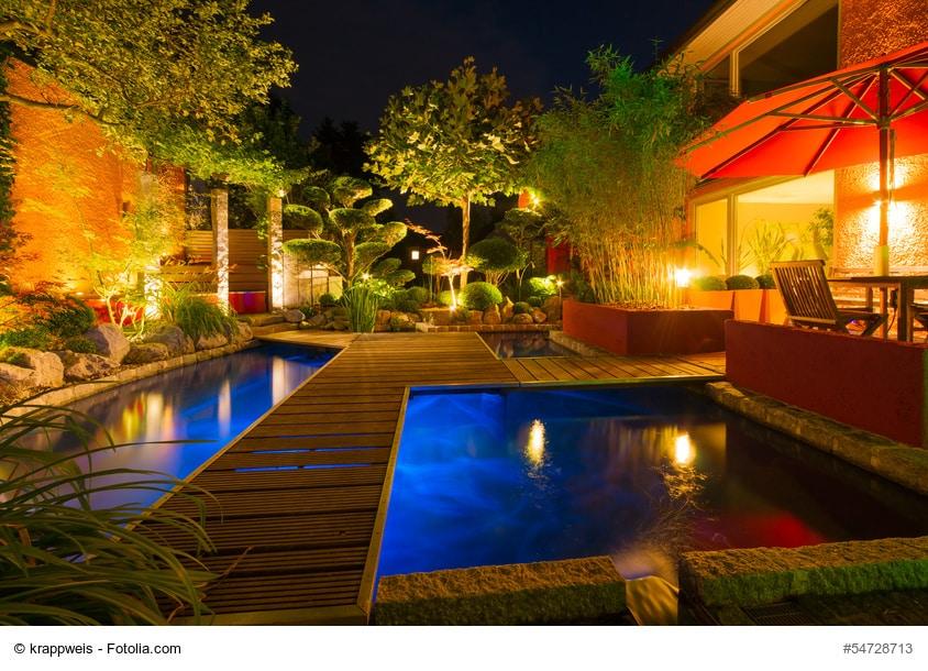 Den Außenbereich mit passenden Beleuchtungselementen wirkungsvoll in Szene setzen