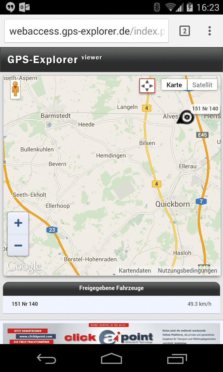 GPS-Tracker zeigt Ankunft