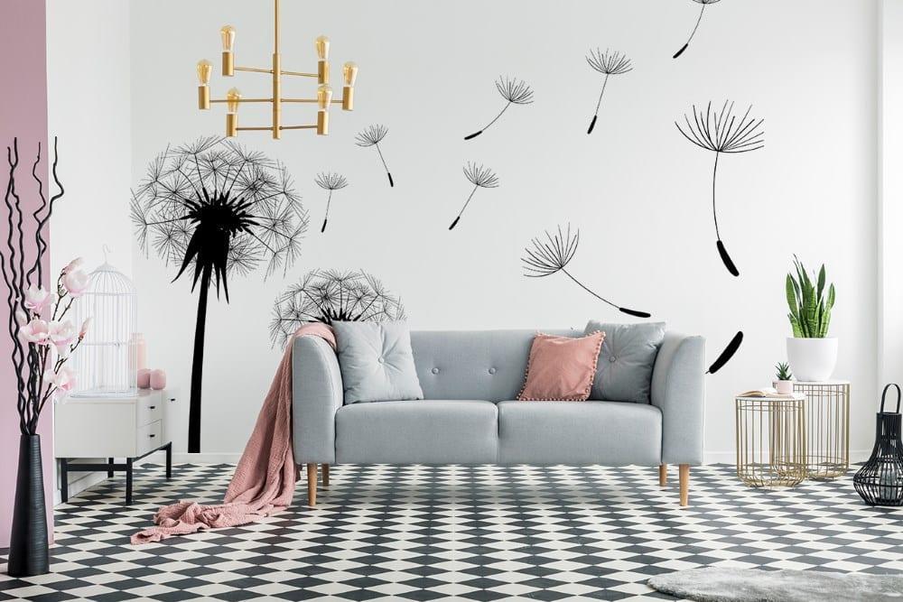 Fototapete mit Pusteblumen – ein Blumenmuster, das sich von allen anderen Designs unterscheidet
