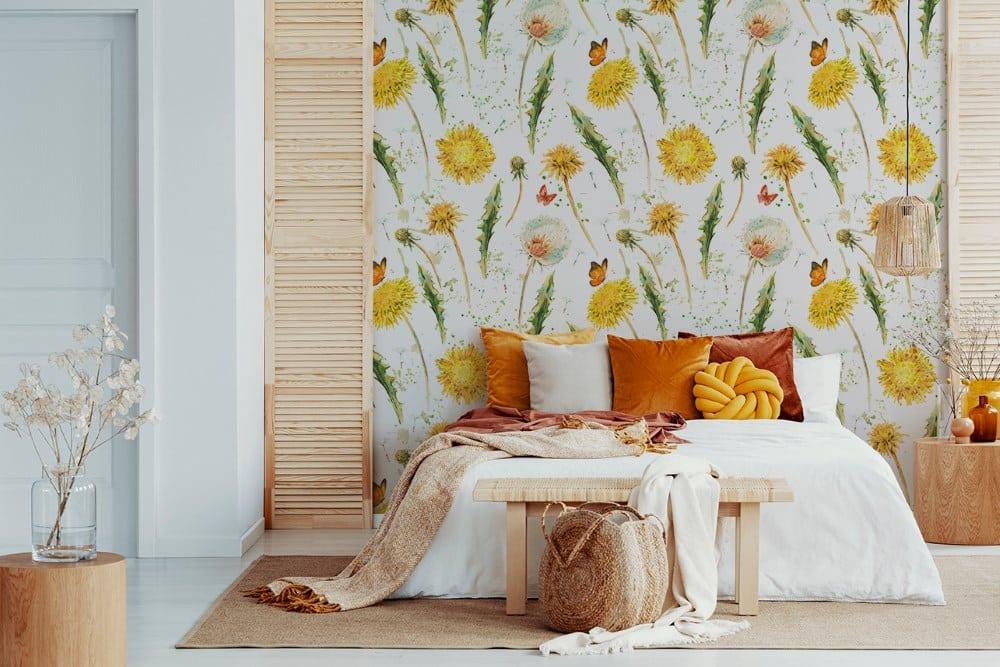 Fototapete Pusteblumen im Schlafzimmer