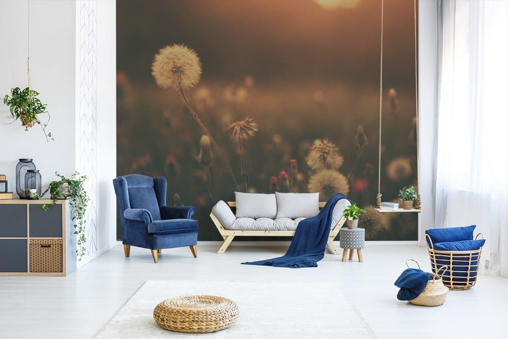 Fototapete Pusteblume im Wohnzimmer