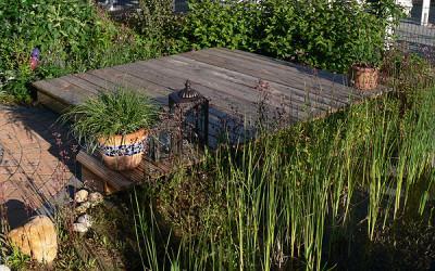 Holzdeck oder Holzterrasse am Gartenteich bauen